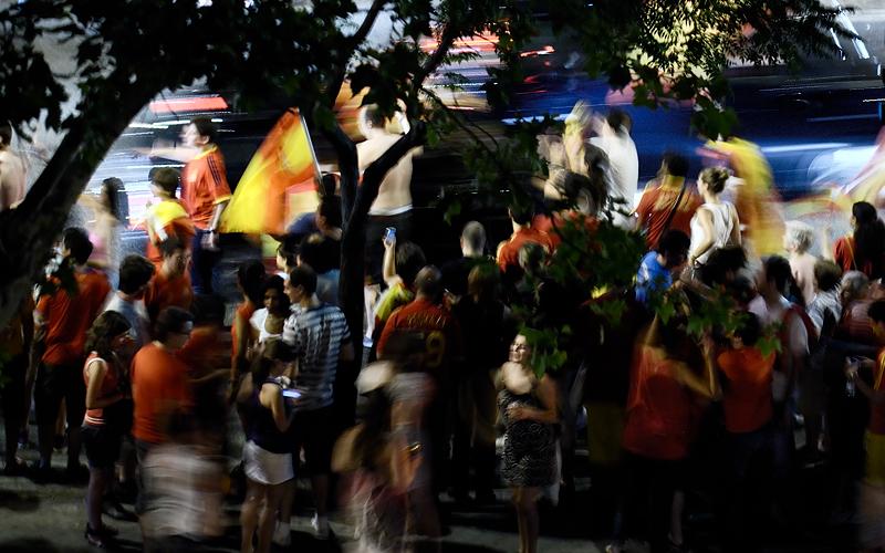 Celebración callejera. Madrid, julio 2010