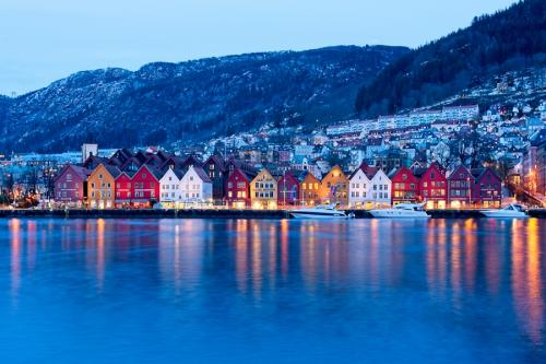 Bryggen, hora azul